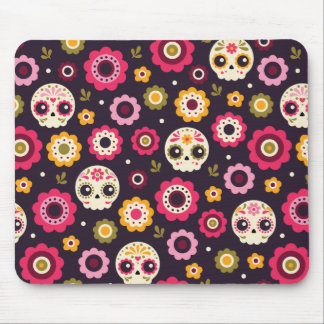 Mexican Sugar Skull Floral Pattern Mouse Pad