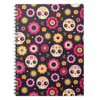 Mexican Sugar Skull Floral Pattern Notebook