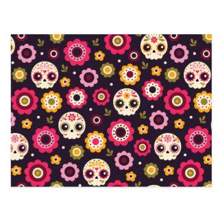Mexican Sugar Skull Floral Pattern Postcard