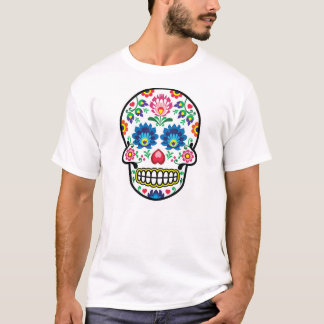 Mexican sugar skull, Polish folk art fusion T-Shirt