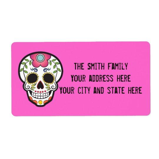Mexican Sugar Skull Shipping Label