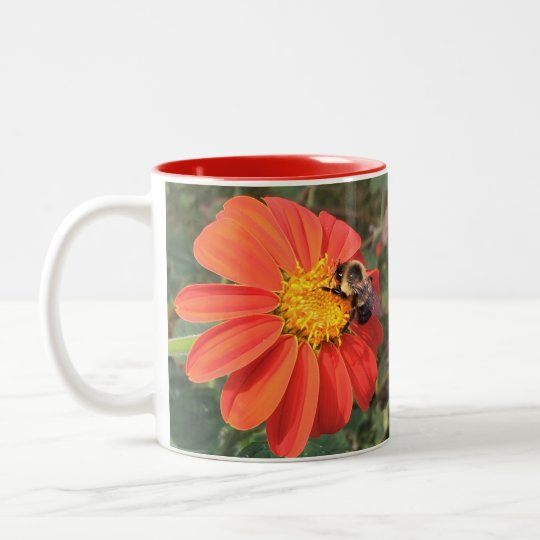 Mexican Sunflower and Bee Two-Tone Coffee Mug