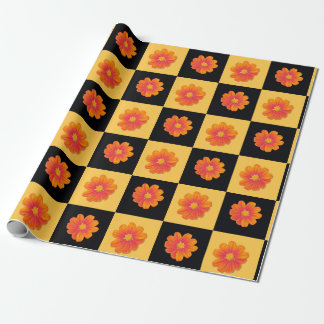 Mexican sunflower black and yellow check gift wrap