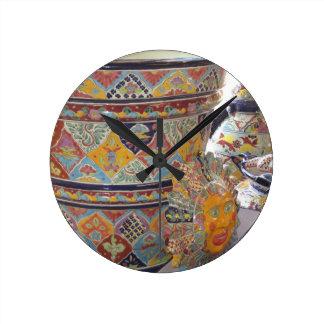 Mexican Talavera style pottery Round Clock
