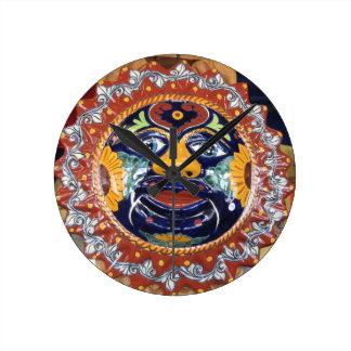 Mexican Talavera style sun Round Clock