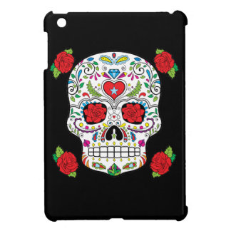 Mexican Tattoo Sugar Skull and Red Roses iPad Mini Cases