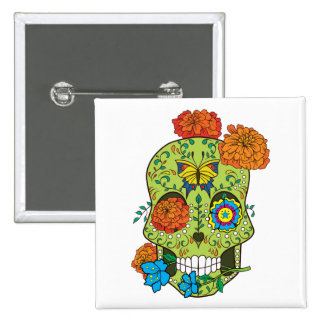Mexican Tattoo Sugar Skull Rose In Mouth 2 Inch Square Button
