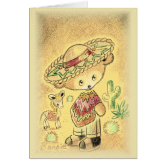 Mexican Teddy Bear In Sombrero Card