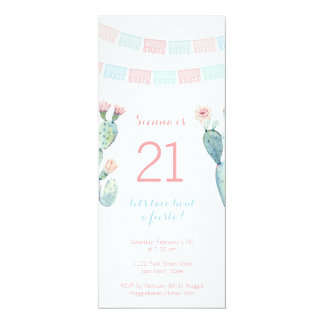 Mexican themed milestone birthday invite for girl