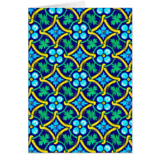 Mexican Tile Design Teal Yellow Floral Print Card