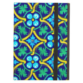 Mexican Tile Design Teal Yellow Floral Print Cover For iPad Air
