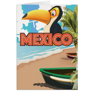 Mexican Toucan Beach Travel Poster. Card