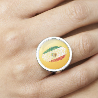 Mexican touch fingerprint flag ring