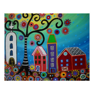 MEXICAN TOWN PAINTING POSTER