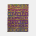 Mexican /Tribal Style pattern - Gold on Vintage pu Fleece Blanket