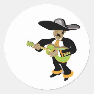 mexican uke player green classic round sticker
