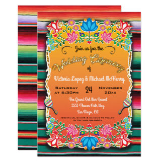 Mexican Wedding Rug and Floral invitation