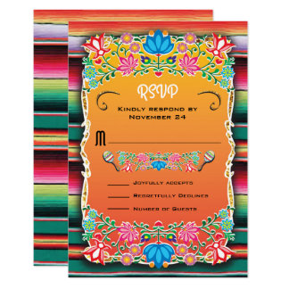 Mexican Wedding Rug and Floral RSVP Card