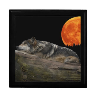 Mexican Wolf & Moon Large Square Gift Box