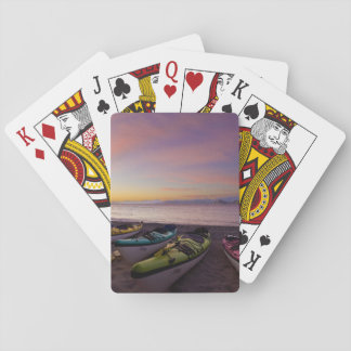 Mexico, Baja, Sea of Cortez. Sea kayaks and Playing Cards