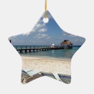 Mexico Beach Scene Ceramic Star Decoration