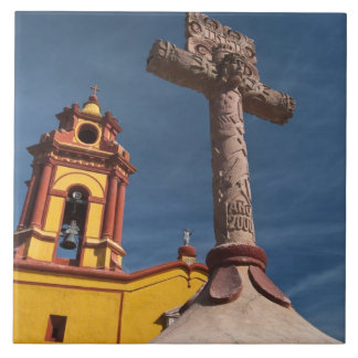 Mexico, Bernal. View of Iglesia de San Sebastian Large Square Tile