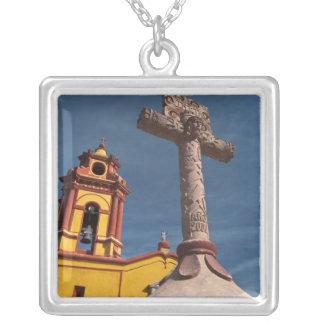 Mexico, Bernal. View of Iglesia de San Sebastian Square Pendant Necklace