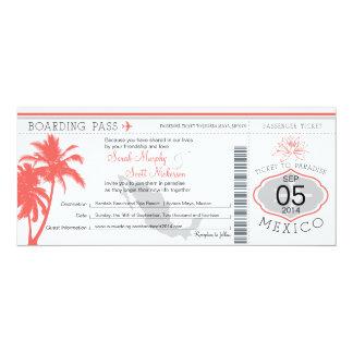 Mexico Boarding Pass Destination Wedding 10 Cm X 24 Cm Invitation Card