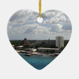 Mexico buildings and ocean ceramic heart decoration