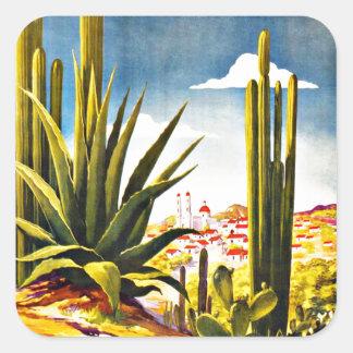 Mexico Cactus Vintage Travel Square Sticker