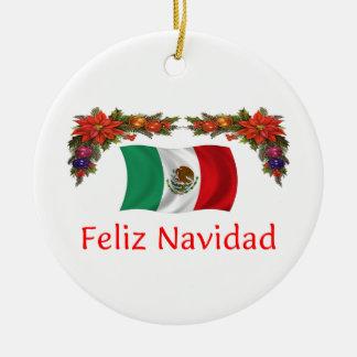 Mexico Christmas Round Ceramic Decoration