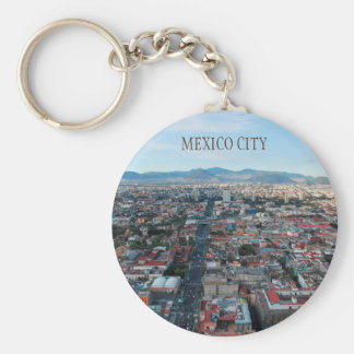 Mexico City, aerial view looking north Basic Round Button Key Ring