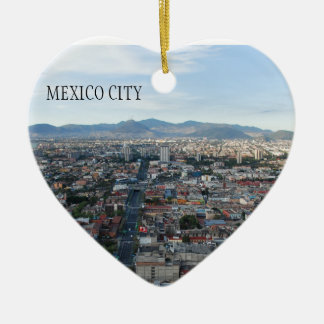 Mexico City, aerial view looking north Ceramic Heart Decoration