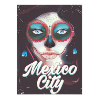 Mexico City Day of the Dead travel poster