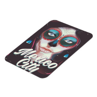 Mexico City Day of the Dead travel poster Magnet