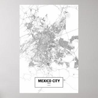 Mexico City, Mexico (black on white) Poster