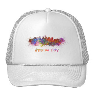 Mexico City skyline in watercolor Cap