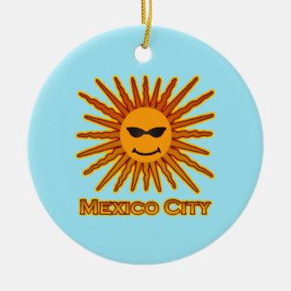 Mexico City Sun Face Round Ceramic Decoration