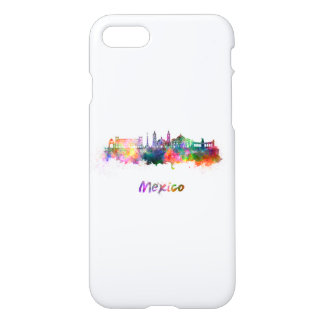 Mexico City V2 skyline in watercolor iPhone 7 Case