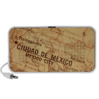 MEXICO CITY Vintage Map Doodle Laptop Speakers