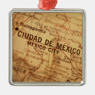 MEXICO CITY Vintage Map Metal Ornament