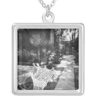 MEXICO, D.F., Mexico City, COYOACAN: Bench at Square Pendant Necklace