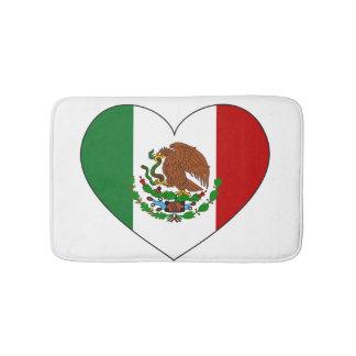 Mexico Flag Heart Bath Mat