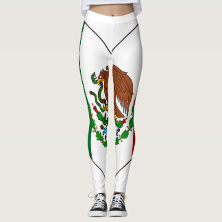 Mexico Flag Heart Leggings