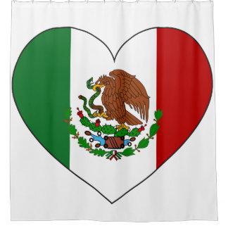 Mexico Flag Heart Shower Curtain