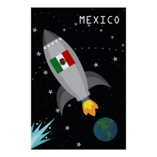 Mexico Flag Rocket Ship Poster