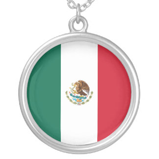 Mexico Flag Silver Plated Necklace