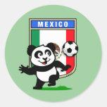 Mexico Football Panda Round Sticker
