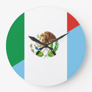 mexico guatemala half flag country symbol large clock