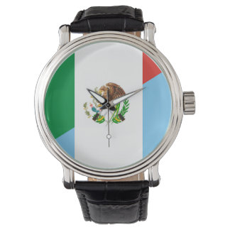 mexico guatemala half flag country symbol wristwatch